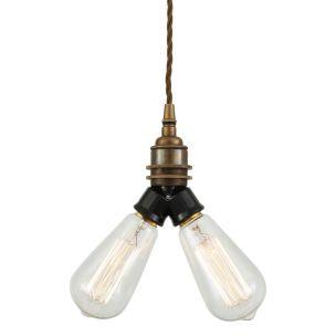 Arris Double Bare Bulb Vintage Pendant Light, Antique Brass
