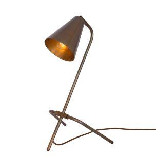 Astana Industrial Adjustable Brass Table Lamp, Antique Brass