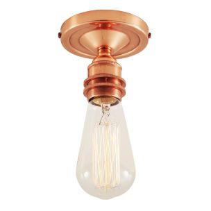 Bexter Vintage Exposed Bulb Flush Ceiling Light, Polished Copper