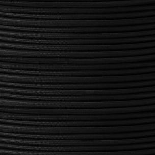 Câble tressé en tissu noir, rond à 3 conducteurs