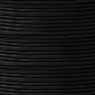Black Fabric Braided Rubber Cable, 2 Core