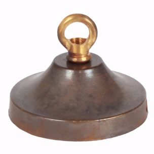 Brass ceiling rose light fitting, concave with closed hook