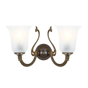 Brisbane Two-Arm Wall Light with Etched Glass Shades, Antique Brass