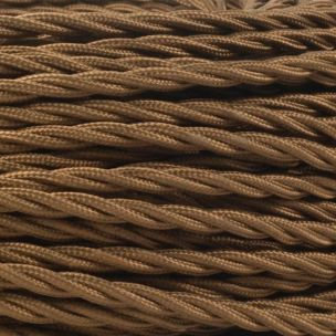 Brown Fabric Braided Cable, 3 Core Twisted