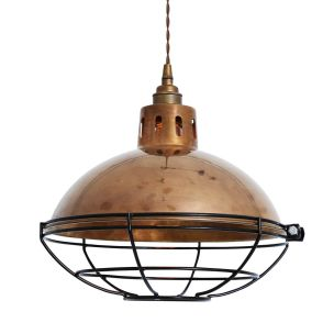 Chester Industrial Cage Factory Pendant Light 32cm, Antique Brass
