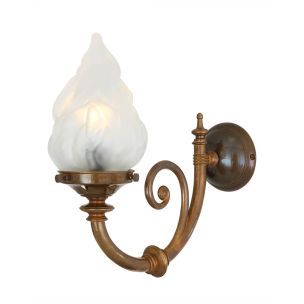 Darwin Traditional Wall Light with Flame Glass Shade, Antique Brass