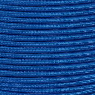 Câble tressé en tissu bleu électrique, 3 fils ronds