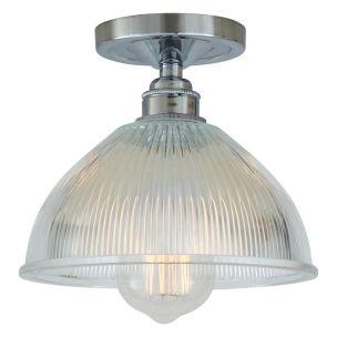 Erbil Prismatic Glass Flush Ceiling Light 19cm, Polished Chrome