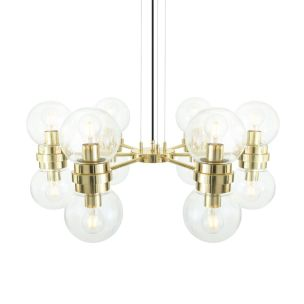 Eske Modern Clear / Opal Globe Chandelier, Six-Arm