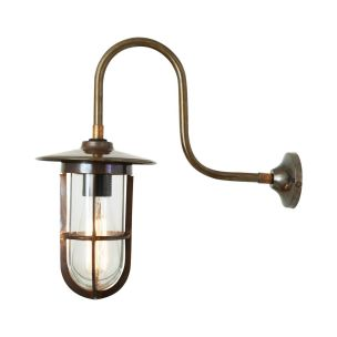 Fabo Well Glass Swan Neck Outdoor Wall Light IP65, Antique Silver Crackled Glass