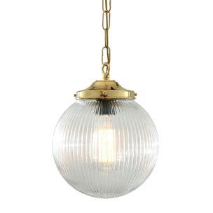 Fitzroy Holophane Glass Globe Pendant Light 20cm, Polished Brass