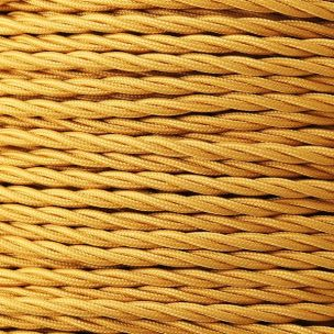 Gold Fabric Braided Cable, 2 Core Twisted