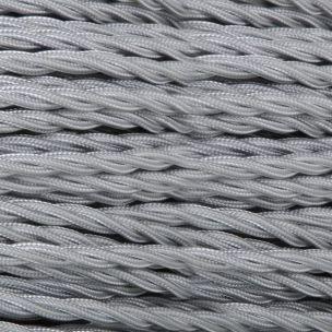 Câble gris flexible tressé et torsadé à 2 brins