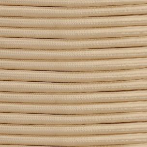 Ivory Fabric Braided Cable, 3 Core Round