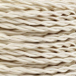Ivory Fabric Braided Cable, 3 Core Twisted