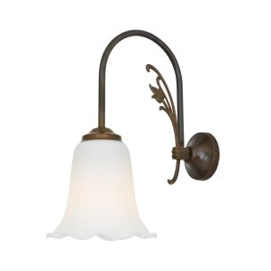 Lae Traditional Swan Neck Wall Light with Opal Bell Glass Shade