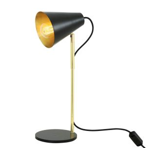 Lusaka Modern Adjustable Table Lamp with Cone Shade, Polished Brass and Matt Black
