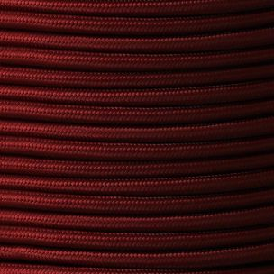 Maroon Fabric Braided Cable, 3 Core Round