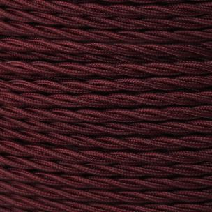 Maroon Fabric Braided Cable, 3 Core Twisted