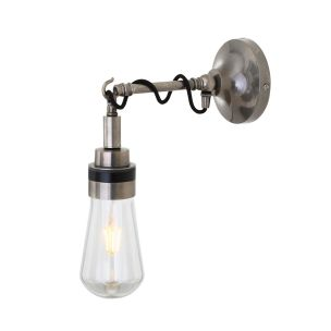 Mayim Vintage Brass / Glass Bathroom Wall Light IP65