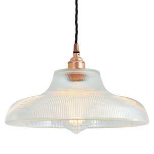 Mono Industrial Railway Glass Pendant Light 30cm, Polished Copper