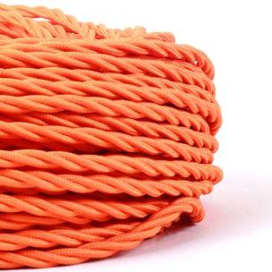 Câble tressé en tissu orange, 3 fils torsadés