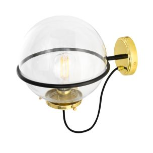 Oranmore Glass Globe Wall Light in Steel Ring 25cm, Polished Brass, Clear Glass