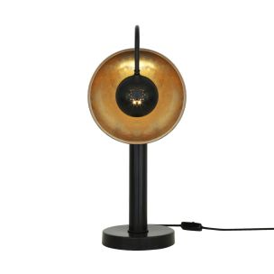 Orebro Industrial Brass Dish Pillar Table Lamp, Matt Black and Antique Brass