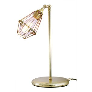 Praia Industrial Cage Table Lamp, Polished Brass and Gold Zinc Cage