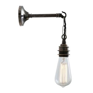 Prei Industrial Vintage Bare Bulb Wall Light, Antique Silver