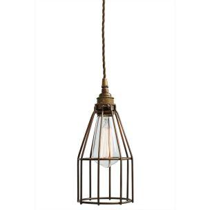Raze Industrial Cage Vintage Pendant Light 12cm, Antique Brass and Powder Coated Bronze Cage