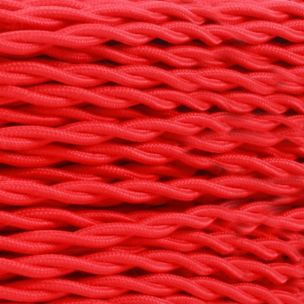 Red Fabric Braided Cable, 2 Core Twisted