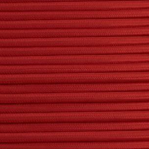 Câble tressé en tissu rouge, rond à 3 conducteurs