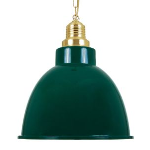 Rezador Industrial Factory Pendant Light 42cm, Polished Brass and Racing Green Shade
