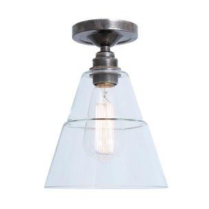 Rigale Coolie Clear Glass Flush Ceiling Light, Antique Silver