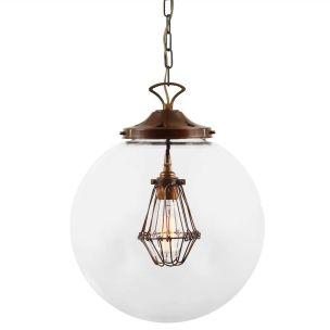 Robyn Large Glass Globe Cage Pendant Light 35cm, Antique Brass and Bronze Cage