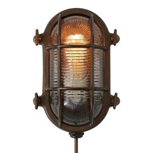 Ruben Marine Nautical Bulkhead Wall Light IP64, Antique Brass