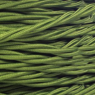 Sage Green Fabric Braided Cable, 2 Core Twisted