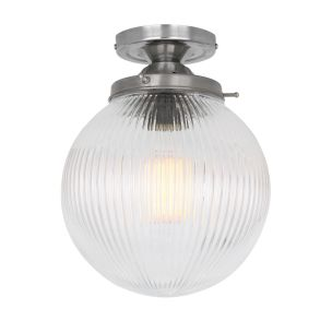 Stanley Holophane Glass Globe Ceiling Light 20cm, Polished Chrome