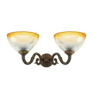 Tawau Two-Arm Wall Light with Amber Tipped Shades, Antique Brass