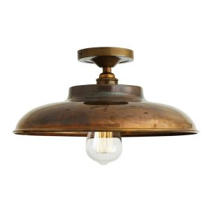 Telal Industrial Factory Flush Ceiling Light 32cm, Antique Brass