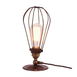 Vox Vintage Industrial Cage Table Lamp, Antique Brass and Bronze Cage