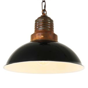 Ypres Industrial Factory Pendant Light 30cm, Antique Brass and Black Shade