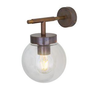 Marin Wall Light IP65 Antique Brass Clear Globe