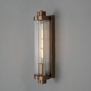 Louise Vintage Rippled Glass and Brass Bathroom Wall Light, Antique Brass