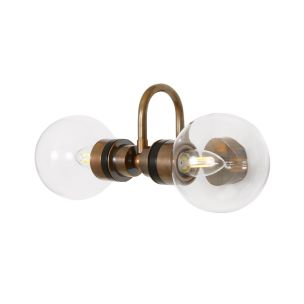 Ness Double Clear Glass Globe Bathroom Wall Light with Swan Neck IP65