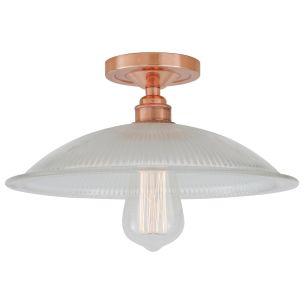 Calix Holophane Glass Flush Ceiling Light 30cm, Polished Copper