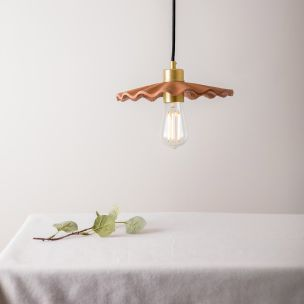 Kapok Organic Ceramic Pendant Light 27cm, Red Iron