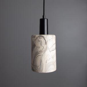 Senna Marbled Ceramic Cylinder Pendant Light 12cm, Matte Black