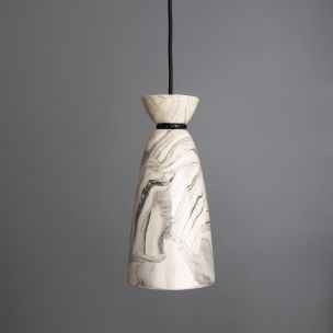 Pando Marbled Ceramic Pendant Light 14cm, Powder-Coated Matte Black